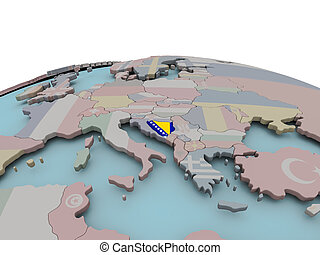 Political map of Bosnia on globe with flag