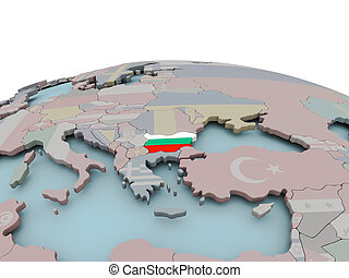 Political map of Bulgaria on globe with flag