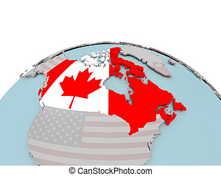 Political map of Canada on globe with flag