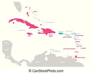 Political map of Carribean. Pink highlighted sovereign states and blue dependent territories. Simple flat vector illustration