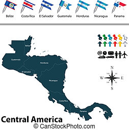 Political map of Central America - Vector of political map...