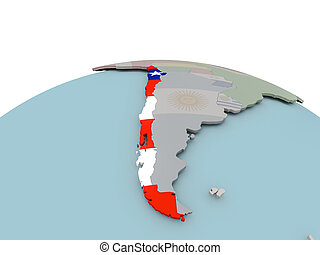 Political map of Chile on globe with flag