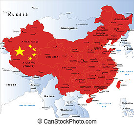Political map of China - Highly detailed map of China with...