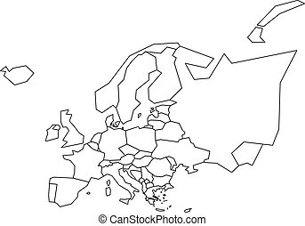 Vector outline map of europe. simplified vector map made of ...