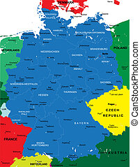 Political map of Germany with main cities
