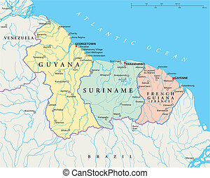 Guyana, Suriname and French Guiana - Political map of Guyana...