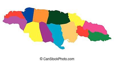 Political map of Jamaica