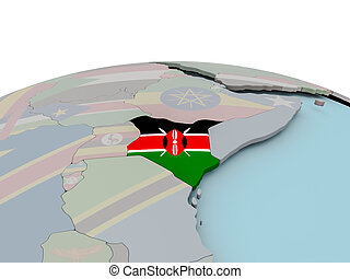Political map of Kenya on globe with flag