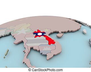 Political map of Laos on globe with flag