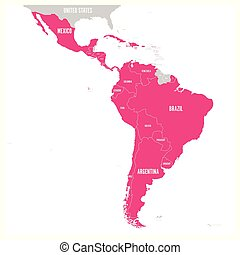 Political map of Latin America. Latin american states pink highlighted in the map of South America, Central America and Caribbean. Vector illustration