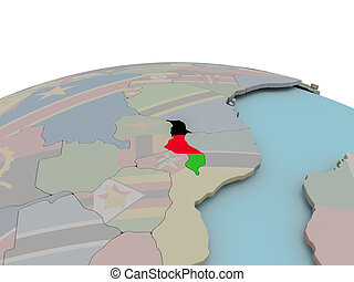 Political map of Malawi on globe with flag - Malawi with...