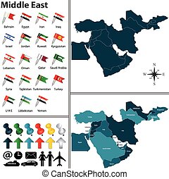 Political map of Middle East