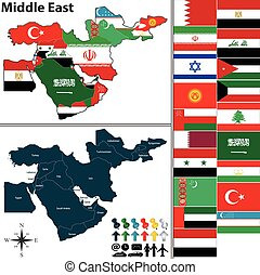 Political map of Middle East - Vector of political map of...