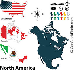 Political map of North America - Vector of political map of ...