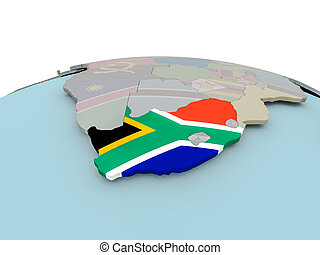 Political map of South Africa on globe with flag