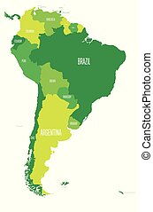 Political map of South America. Simple flat vector map with country name labels in four shades of green