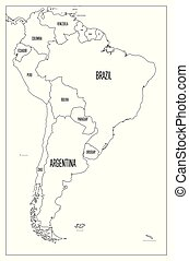 Polotical Map Of South America Black And White on black political south america, black and white north america, black and white us map, white printable maps of south america, black and white blank map of america,