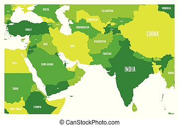 Political map of South Asia and Middle East countries. Simple flat vector map in four shades of green