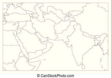 Outline central asia . Outline map of central asia divided ...