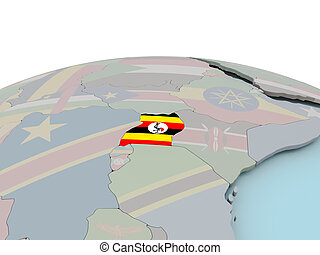 Political map of Uganda on globe with flag