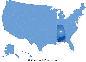 Political map of United States with all states where Alabama...