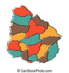 Political map of Uruguay