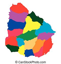 Political map of Uruguay