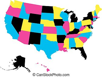 Political map of USA, United States of America, in CMYK colors isolated on white background. Vector illustration
