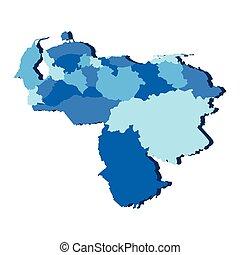 Political map of Venezuela