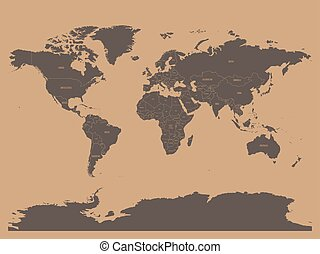 Political map of world in chocolatte brown colors. EPS10 vector illustration