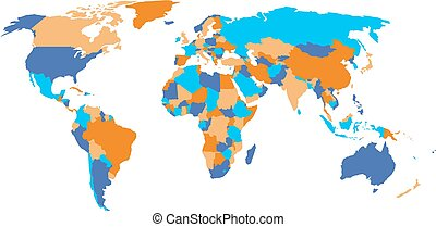 Political map of World in four colors isolated on white background. Vector illustration