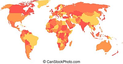 Political map of World in four shades of orange. Vector illustration.