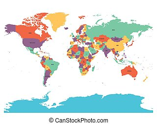 Political map of world with Antarctica. Countries in four...