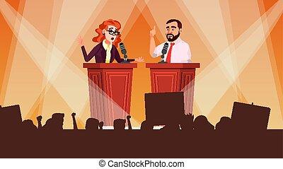 Political Meeting Vector. Debates Concept. Leading...