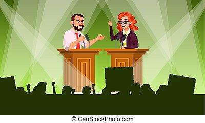 Political Meeting Vector. Political Campaign. Tribune....