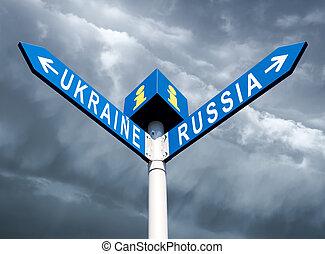 Russia-Ukraine road sign