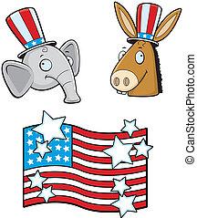 Political Parties - A cartoon donkey and elephant political...