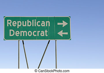 Political party road sign