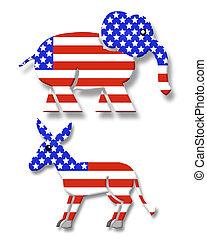 3D symbols for the Republican and democratic political parties
