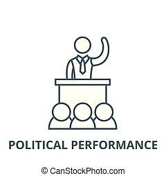 Political performance vector line icon, linear concept,...
