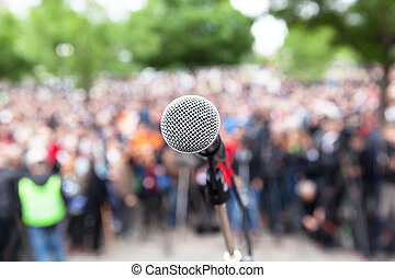 Political protest. Public demonstration. - Microphone in...