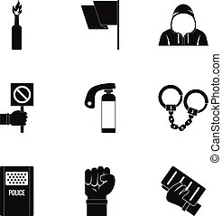 Political revolt icon set, simple style