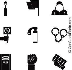 Political revolt icon set, simple style