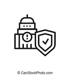 Political risk insurance color line icon. Isolated vector element.