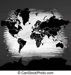 Political Sihouette of the World Artmap. Black and White Vector Graphic