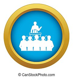 Political speaker icon blue isolated