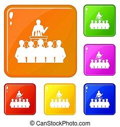 Political speaker icons set color - Political speaker icons...
