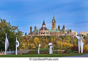 Political Splendor - The canadian Parliament in Autumn seen...
