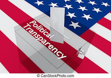 Political Transparency concept - 3D illustration of '...