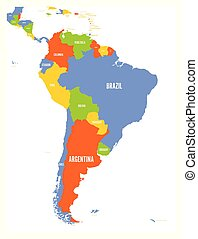 Political vector map of South America